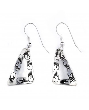 Bear Paw .925 Sterling Silver Certified Authentic Handmade Navajo Native American Dangle Earrings 27261-1