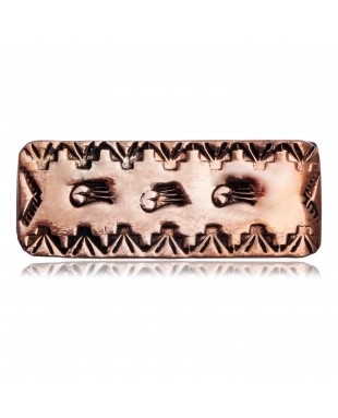 Bear Paw and Mountain Navajo Certified Authentic Handmade Pure Copper and Nickel Native American Money Clip 11267-12