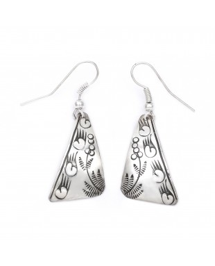 Bear Paw Flower .925 Starling Silver Certified Authentic Handmade Navajo Native American Earrings  27261-6