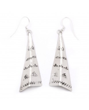 Bear Paw Mountain Feather Arrow .925 Starling Silver Certified Authentic Handmade Navajo Native American Earrings  27265-8