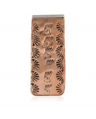 Bear Paw Sun Navajo Certified Authentic Handmade Pure Copper Native American Nickel Money Clip 11267-7