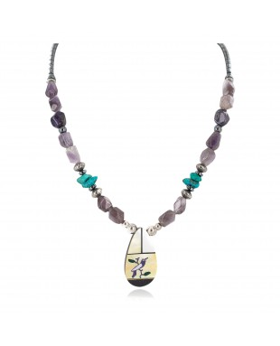 Bird Certified Authentic Navajo .925 Sterling Silver Inlay Natural Turquoise Mother of Pearl Hematite Amethyst Native American Necklace 25340-1