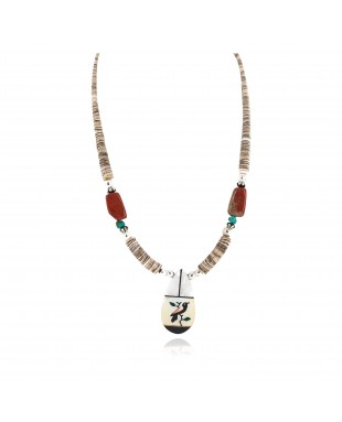 Bird Certified Authentic Navajo .925 Sterling Silver Inlay Natural Turquoise Mother of Pearl Red Jasper Black Onyx Native American Necklace 750238-10