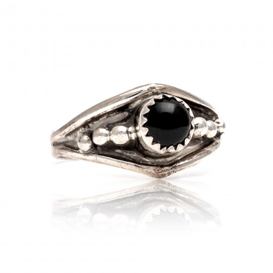 Black Onyx .925 Sterling Silver Certified Authentic Navajo Native American Handmade Ring 13204-1 All Products NB181009165423 13204-1 (by LomaSiiva)