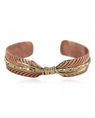 Brass Navajo Handmade Certified Authentic Native American Pure Copper Bracelet  92023-1