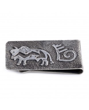 Buffalo .925 Sterling Silver Ray Begay Certified Authentic Handmade Navajo Native American Money Clip  13194-19