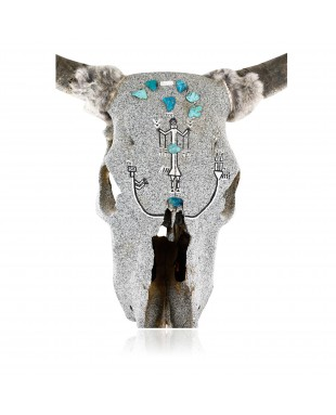 Bull SKULL Certified Authentic Native American Kachina Handmade Hopi Natural Turquoise 10797