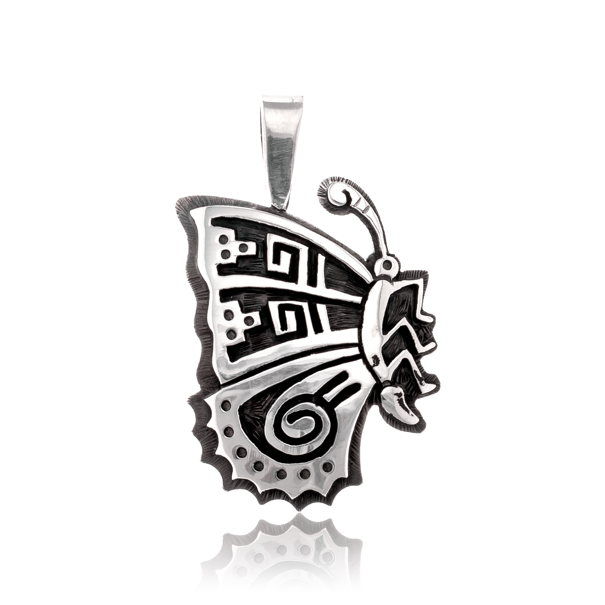 Butterfly .925 Sterling Silver Certified Authentic Handmade Hopi Native American Pendant  24551 Pendants NB180602181539 24551 (by LomaSiiva)
