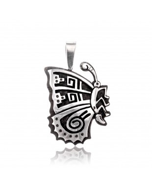 Butterfly .925 Sterling Silver Certified Authentic Handmade Hopi Native American Pendant  24551
