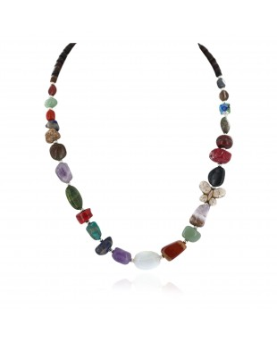 Butterfly Certified Authentic Navajo .925 Sterling Silver Natural Multicolor Stones Native American Necklace 15778-00