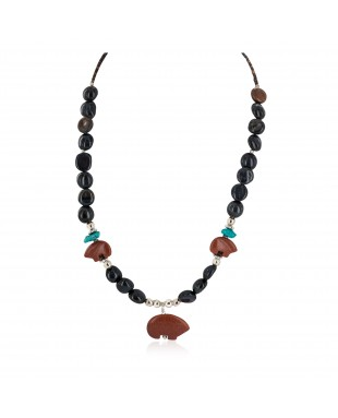 Carved Fetish Bear .925 Sterling Silver Certified Authentic Navajo Natural Turquoise Goldstone Agate Native American Necklace 750207-3