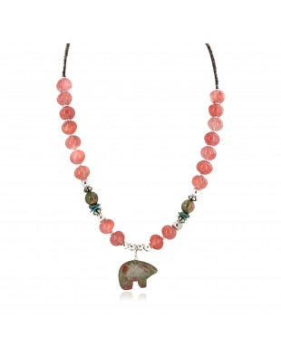 Carved Fetish Bear .925 Sterling Silver Certified Authentic Navajo Natural Turquoise Pink Quartz Blood Stone Native American Necklace 25338-5