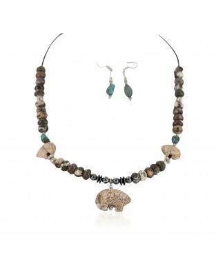 Carved Fetish Bear .925 Sterling Silver Hooks Certified Authentic Navajo Natural Turquoise and Jasper Native American Set 18234-1-18238