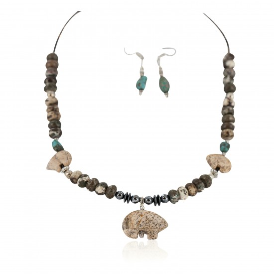 Carved Fetish Bear .925 Sterling Silver Hooks Certified Authentic Navajo Natural Turquoise and Jasper Native American Set 18234-1-18238 Clearance NB160406232700 18234-1-18238 (by LomaSiiva)