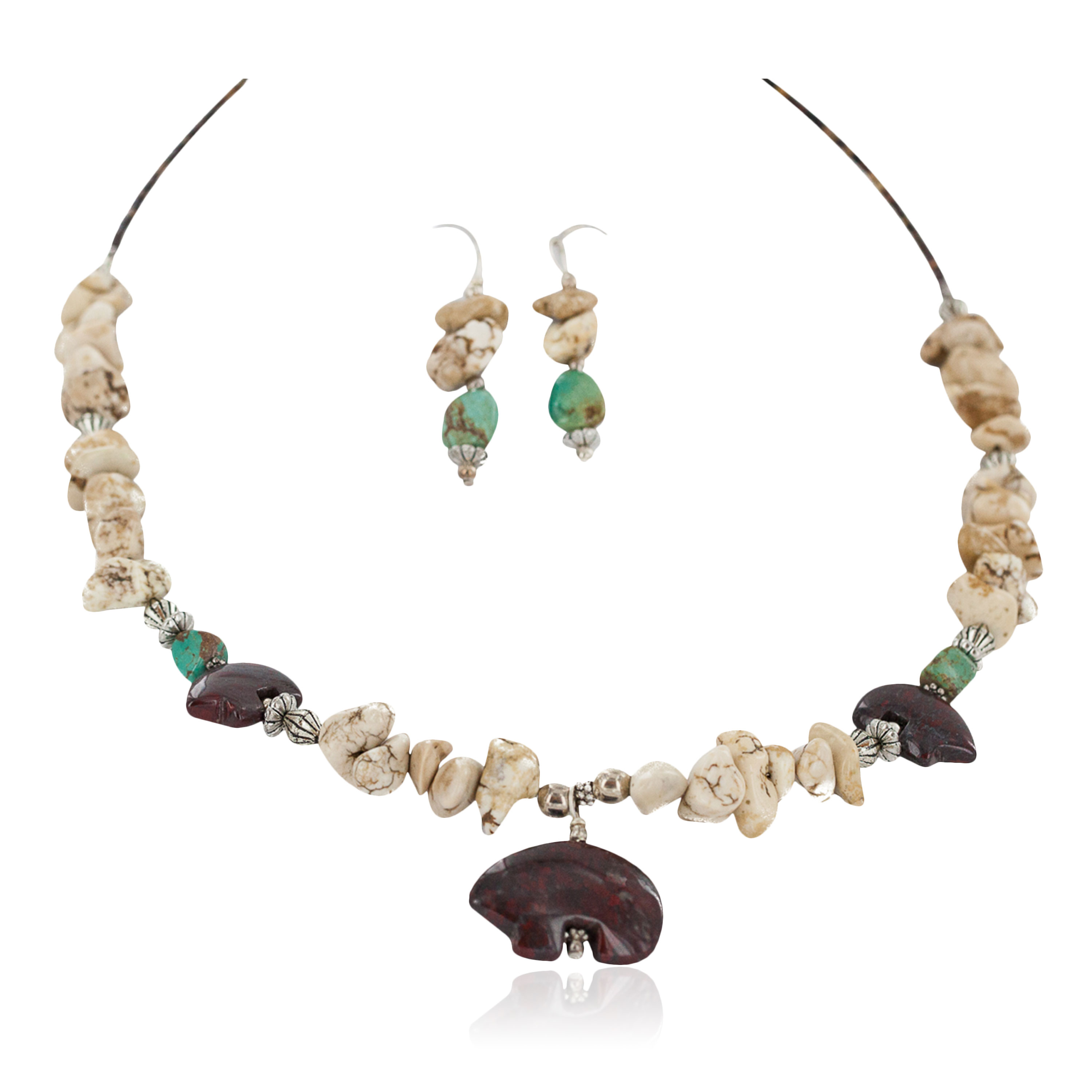 Carved Fetish Bear .925 Sterling Silver Hooks Certified Authentic Navajo White Howlite Red Jasper Native American Set 750209-4-18252-6 Clearance NB160401180346 750209-4-18252-6 (by LomaSiiva)