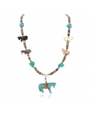 Carved Fetish Horse .925 Sterling Silver Certified Authentic Navajo Natural Jasper Bone Graduated Melon Shell Native American Necklace 18266