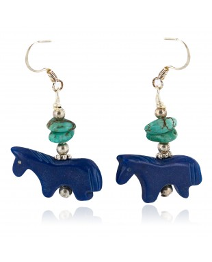 Carved Fetish Horse .925 Sterling Silver Hooks Certified Authentic Navajo Natural Turquoise Native American Dangle Earrings 18291-3