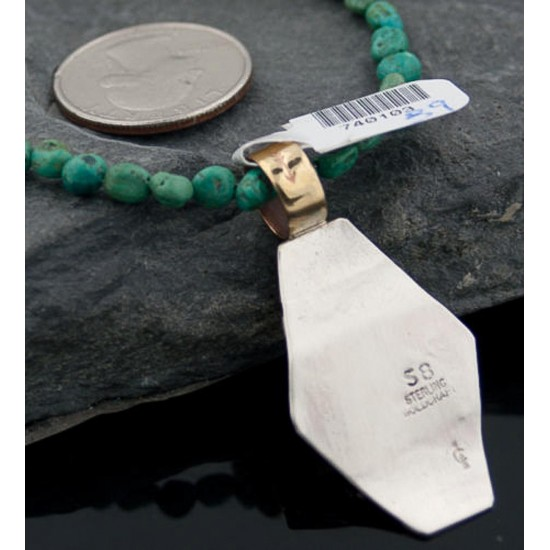 Certified Authentic 12kt Gold Filled .925 Sterling Silver Handmade Mountain Turquoise Native American Necklace 370876018093 All Products 370876018093 370876018093 (by LomaSiiva)