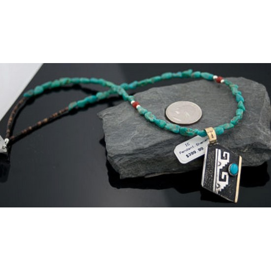 Certified Authentic 12kt Gold Filled and .925 Sterling Silver Handmade Mountain Turquoise Native American Necklace 370875789956 All Products 370875789956 370875789956 (by LomaSiiva)
