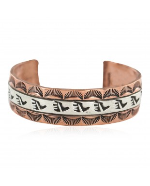 Certified Authentic .925 Sterling Silver Bear Paw Handmade Navajo Native American Pure Copper Bracelet 13170-3