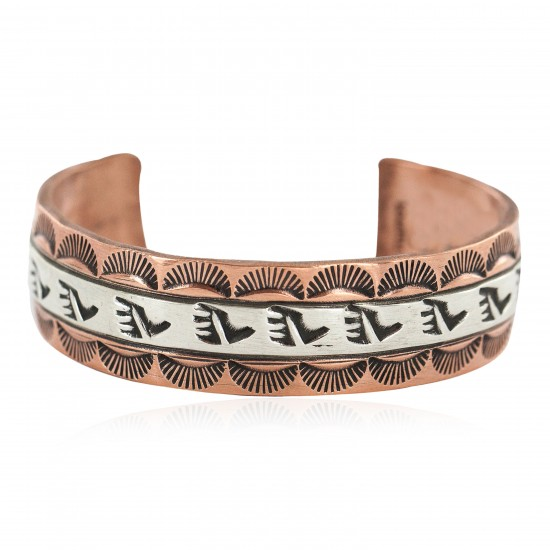 Certified Authentic .925 Sterling Silver Bear Paw Handmade Navajo Native American Pure Copper Bracelet 13170-3 All Products NB160428215056 13170-3 (by LomaSiiva)