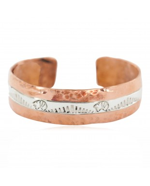 Certified Authentic .925 Sterling Silver Hammered Bear Navajo Handmade Native American Pure Copper Bracelet 13155