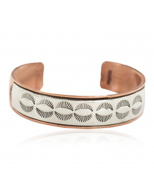 Certified Authentic .925 Sterling Silver Handmade Navajo Native American Pure Copper Bracelet 13170-2
