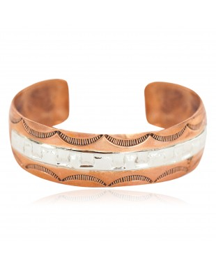 Certified Authentic .925 Sterling Silver Handmade Navajo Native American Pure Copper Bracelet 24497-2