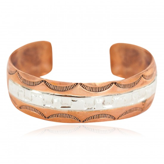 Certified Authentic .925 Sterling Silver Handmade Navajo Native American Pure Copper Bracelet 24497-2 All Products NB160514193947 24497-2 (by LomaSiiva)