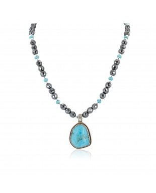 Certified Authentic .925 Sterling Silver Handmade Navajo Natural Turquoise Hematite Native American Necklace 15029-15916