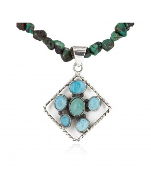 Certified Authentic .925 Sterling Silver Handmade Navajo Turquoise Native American Necklace 10044-790102