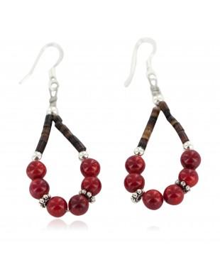 Certified Authentic .925 Sterling Silver Hooks Coral Heishi Hoop Native American Dangle Earrings 18263-38