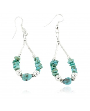 Certified Authentic .925 Sterling Silver Hooks Dangle Natural Turquoise Hoop Native American Earrings 18139
