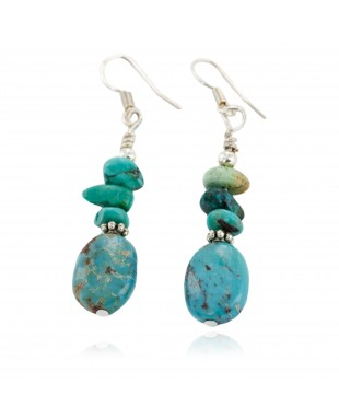 Certified Authentic .925 Sterling Silver Hooks Dangle Natural Turquoise Native American Earrings 18137-3