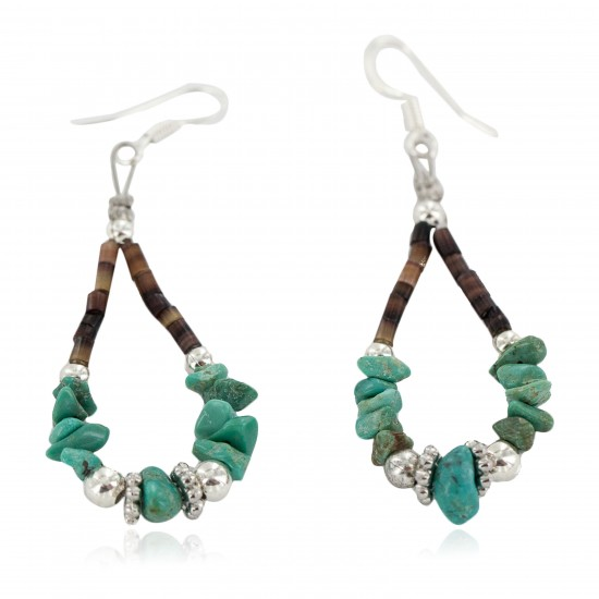 Certified Authentic .925 Sterling Silver Hooks Natural Turquoise Heishi Hoop Native American Dangle Earrings 18263-12 All Products NB160413212645 18263-12 (by LomaSiiva)