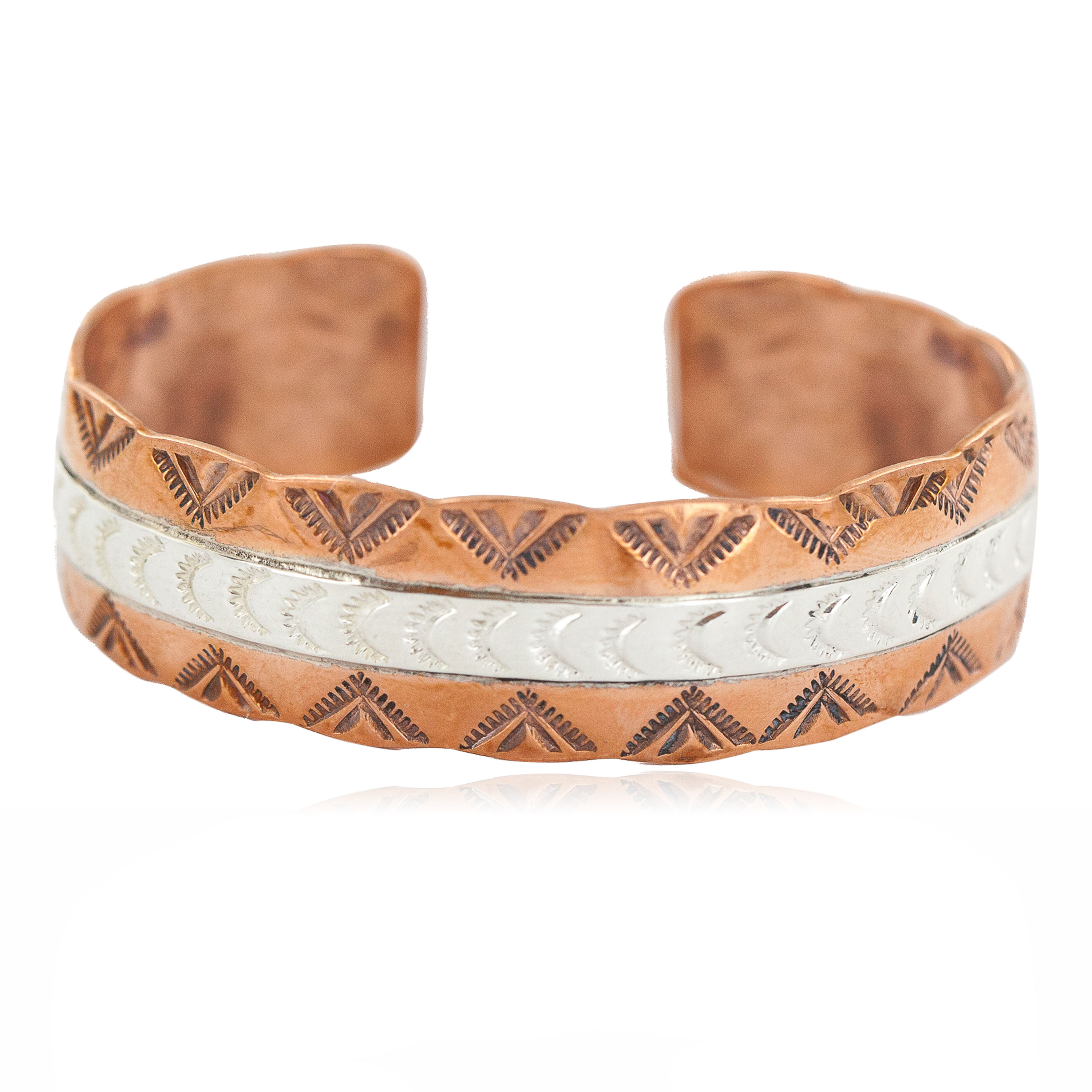 Certified Authentic .925 Sterling Silver Mountain Feather Navajo Handmade Native American Pure Copper Bracelet 24497-3 All Products NB160423214142 24497-3 (by LomaSiiva)