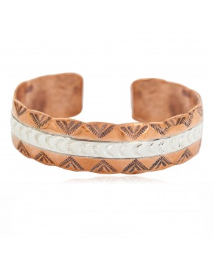 Certified Authentic .925 Sterling Silver Mountain Feather Navajo Handmade Native American Pure Copper Bracelet 24497-3
