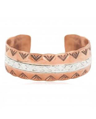Certified Authentic .925 Sterling Silver Mountain Navajo Handmade Native American Pure Copper Bracelet 24497-7