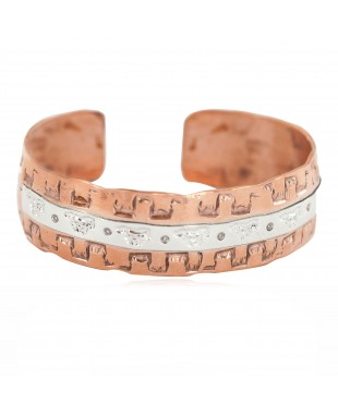 Certified Authentic .925 Sterling Silver Navajo Handmade Horse Native American Pure Copper Bracelet 24497-9