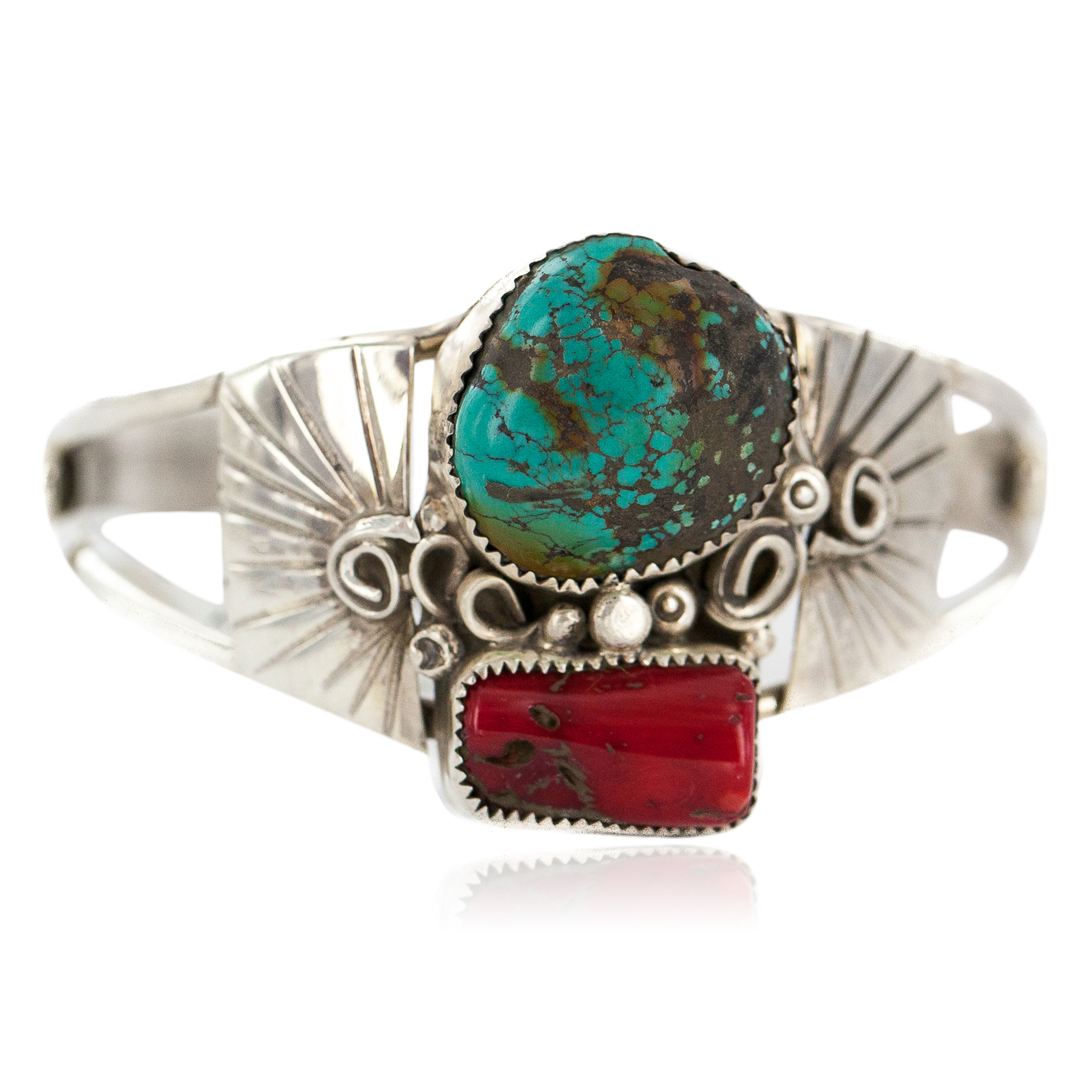 Certified Authentic .925 Sterling Silver Navajo Handmade Natural Turquoise Coral Native American Bracelet  1306 All Products NB160602214415 1306 (by LomaSiiva)
