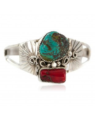 Certified Authentic .925 Sterling Silver Navajo Handmade Natural Turquoise Coral Native American Bracelet  1306