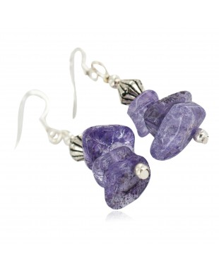 Certified Authentic .925 Sterling Silver Navajo Natural Amethyst Native American Dangle Earrings 18270-9
