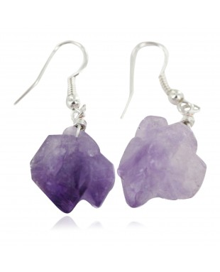 Certified Authentic .925 Sterling Silver Navajo Natural Amethyst Native American Earrings 18270-6