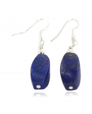 Certified Authentic .925 Sterling Silver Navajo Natural Lapis Lazuli Native American Earrings 18270-2