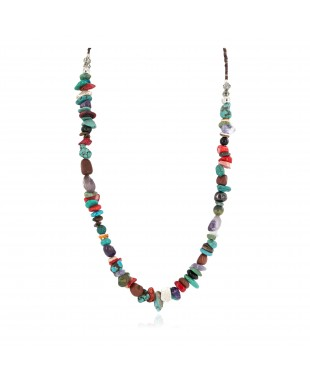 Certified Authentic .925 Sterling Silver Navajo Natural Multicolor Stones Native American Necklace 750215-1