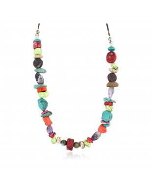 Certified Authentic .925 Sterling Silver Navajo Natural Multicolor Stones Native American Necklace 750215-2