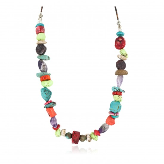 Certified Authentic .925 Sterling Silver Navajo Natural Multicolor Stones Native American Necklace 750215-2 All Products NB160507231853 750215-2 (by LomaSiiva)