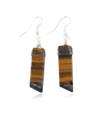 Certified Authentic .925 Sterling Silver Navajo Natural Tigers Eye Native American Dangle Earrings 18270-1