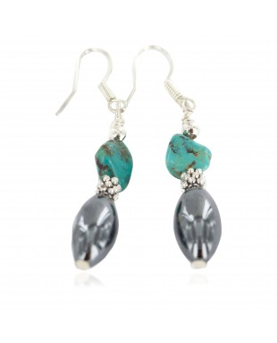 Certified Authentic .925 Sterling Silver Navajo Natural Turquoise Hematite Native American Dangle Earrings 18270-4