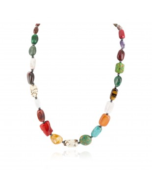 Certified Authentic .925 Sterling Silver Navajo Natural Turquoise Multicolor Stones Native American Necklace 750195-1